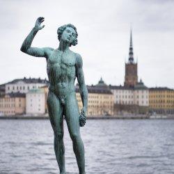Een standbeeld aan het water in Stockholm